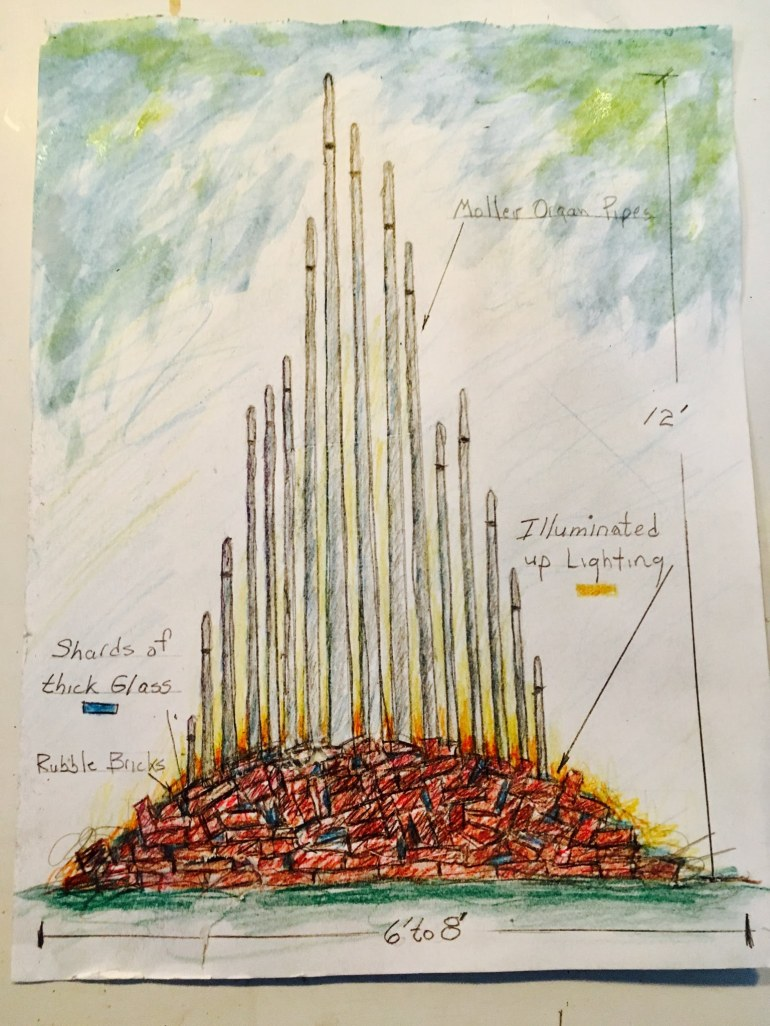Drawing of organ pipes emerging from a rubble pile of brick.